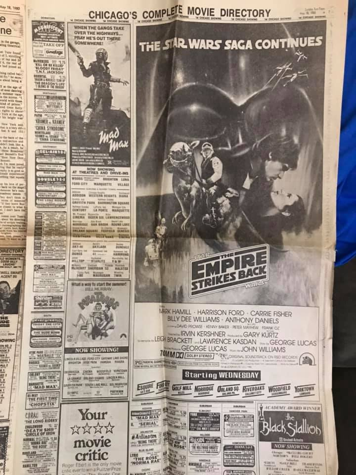 Newspaper movie ad for #TheEmpireStrikesBack #classic #starwarspic.twitter.com/UPRptWU1Ms