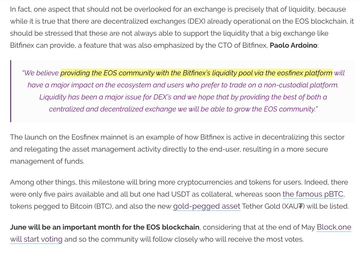 This is a HUGE feature coming from @eosfinexproject next month that nobody is talking about!  Shared liquidity between a non-custodial DEX and one of the world's most liquid CEX (@bitfinex)! 🤯🤯🤯  #EOS #DeFi  Source: https://t.co/Ujsk2NxTqS https://t.co/9MIfDk1xra