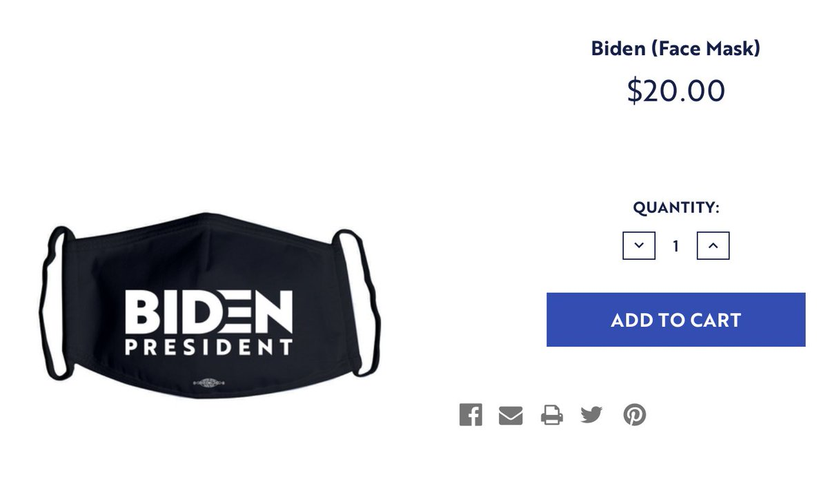 The Biden campaign is now selling face masks.