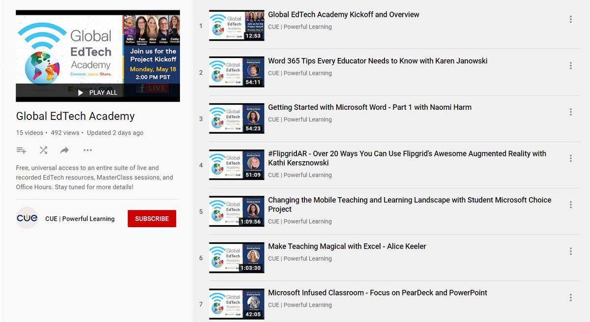 NEW! The Global #EdTech Academy 🌐 YouTube playlist is now available 📺 All video sessions from these education leaders are being posted for anyone to view. Its like a hall-of-fame PD reel 🏆 More coming! 👉 aka.ms/GETAplaylist #edchat #GETA #MIEExpert #MicrosoftEDU