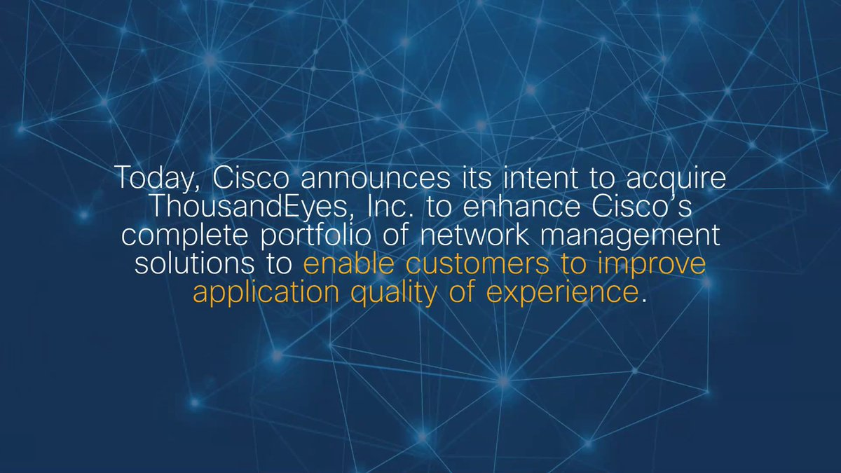 Image for the Tweet beginning: Today, Cisco announces its intent