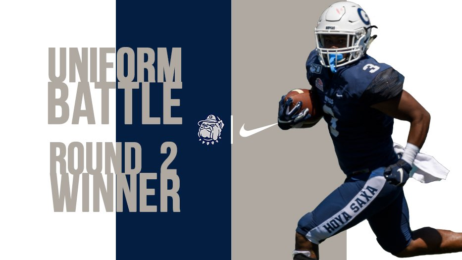 Moving On!! The White / Blue / Blue combo, which the #Hoyas wore in their big win over Marist, has advanced to the finals! Tune in tomorrow to vote in the Finals of our #UniformBattle! #HoyaSaxa #DefendtheDistrict @UNISWAG