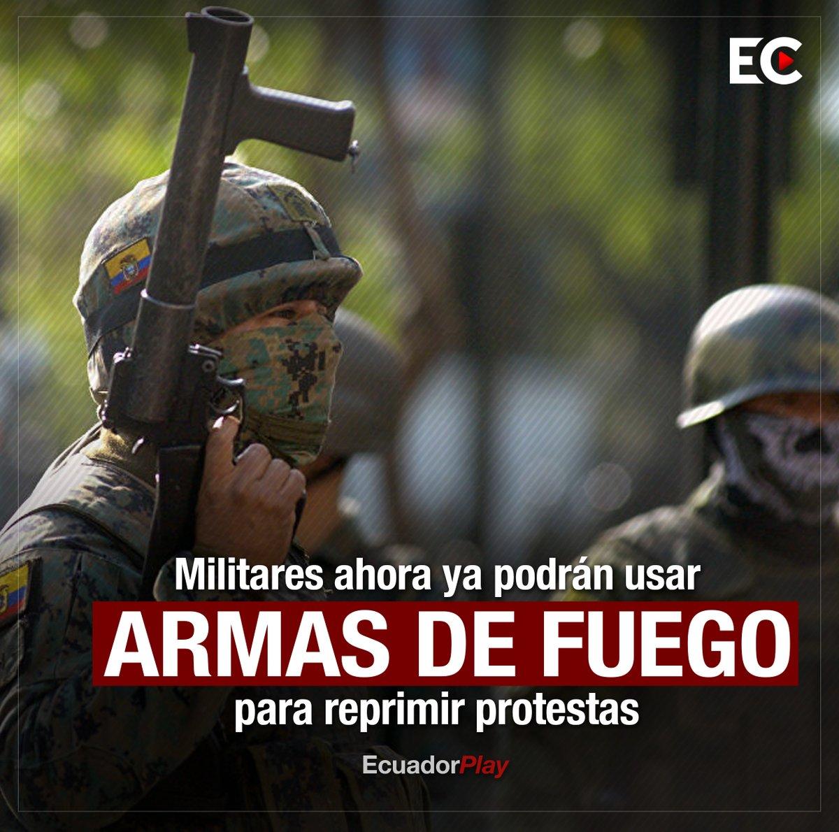 Las @FFAAECUADOR ya tienen nuevo reglamento para el uso progresivo de la fuerza y podrán usar armas de fuego para disuasión. El documento tiene 10 páginas y está firmado por el ministro de Defensa, Oswaldo Jarrin.  (HILO) https://t.co/HWmoleCl41