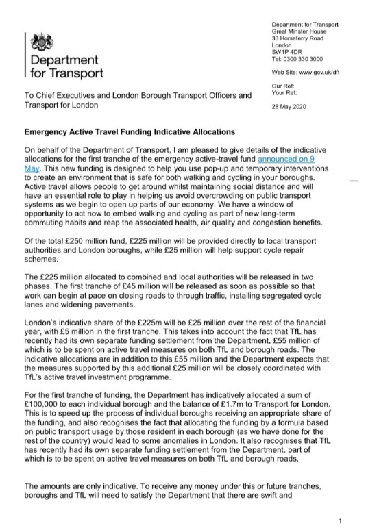 """Some more info from @transportgovuk on the emergency active travel grants. The total is £225 million and there is £45 million in the first tranche """"so that work can begin at pace on closing roads to through traffic, installing segregated cycle lanes and widening pavements"""""""