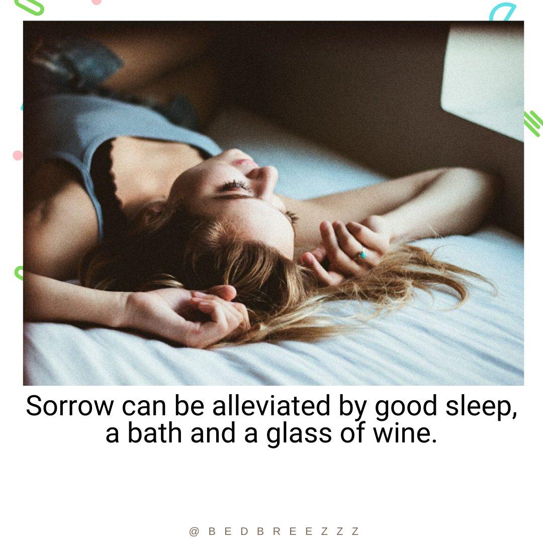 Sorrow can be alleviated by good sleep, a bath and a glass of wine. ~ Thomas Aquinas #sleep pic.twitter.com/97BsFrtN0x