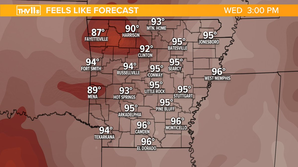 FEELS LIKE FORECAST: We knew it would be coming soon and it looks like the summertime sweat season is about to begin going into the first week of June. Not looking forward to the heat and humidity. #arwx @THV11pic.twitter.com/pBHlF5NoHW