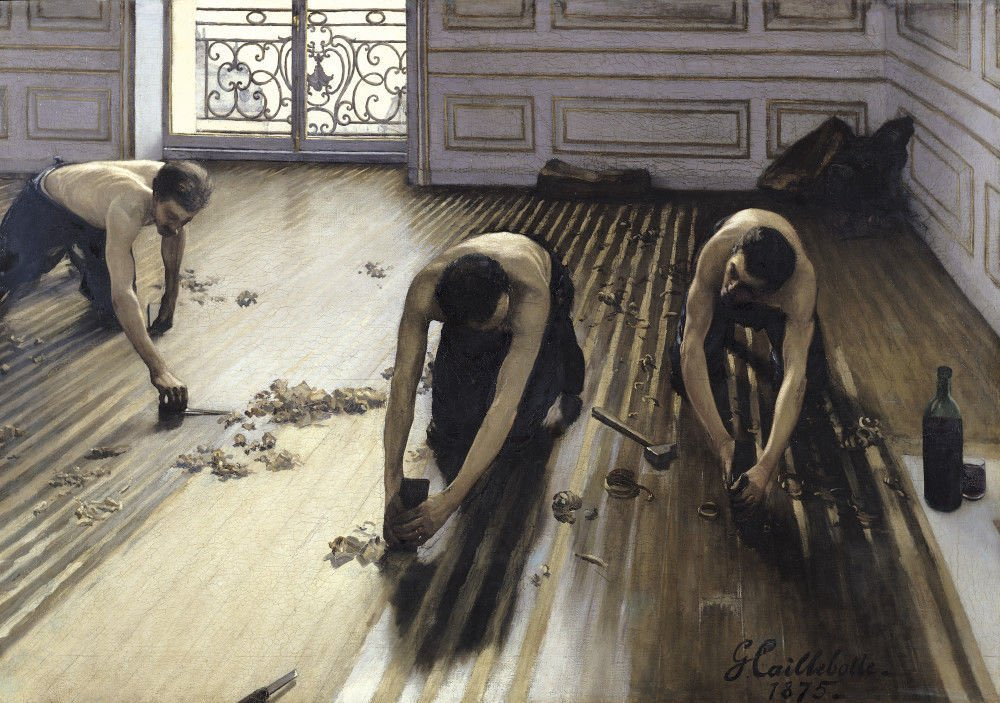 what is your favourite painting? this is mine, The Floor Scrapers by Caillebotte. nearly cried seeing it in Paris, still not sure why i find it so affecting; maybe it's the light on the tiny balcony i am feeling very tired and would like to see some paintings you really love
