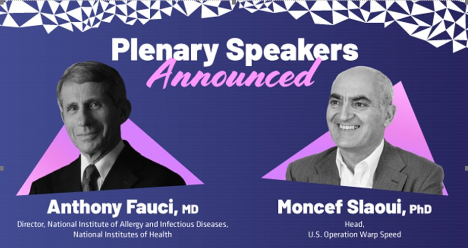 We're pleased to announce that @NIH Allergy + Infectious Disease Dir. Dr. Anthony Fauci and US Operation #WarpSpeed Chief Advisor Dr. Moncef Slaoui will join us at #BIODigital to explore the war on #COVID19. Learn more here: https://t.co/V40eAXAk11 #NothingStopsInnovation https://t.co/CrTE60F4ms