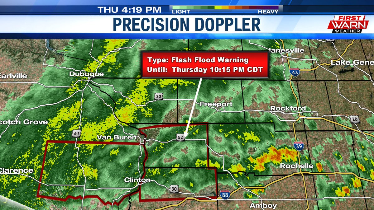 FLASH FLOOD WARNING issued for Carroll & northern Whiteside counties until 10:15pm.  2.5 inches of rain has fallen in the warned area so far, with creeks at bankfull & rising.  Flash flooding is either occurring, or going to occur soon. @MyStateline #ilwxpic.twitter.com/XlRqIC35BY