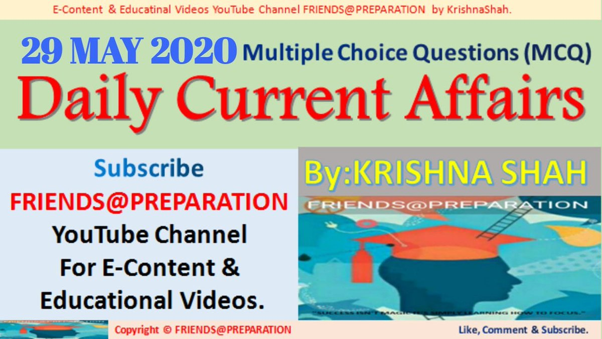 29 May 2020 Daily Current Affairs MCQ By KrishnaShah for UPSC RPSC UPPCS EPFO FRIENDS@PREPARATION https://youtu.be/8e9pO08BiXo  #CurrentAffairs  #May2020CurrentsAffairs #CurrentsAffairs2020  #KrishnaShah  #GeneralStudies  #upsc #rpsc #uppcs #mppcs #hpcs #epfo #ssc   #MCQ #UPSCPrelimspic.twitter.com/7namLKWKL7