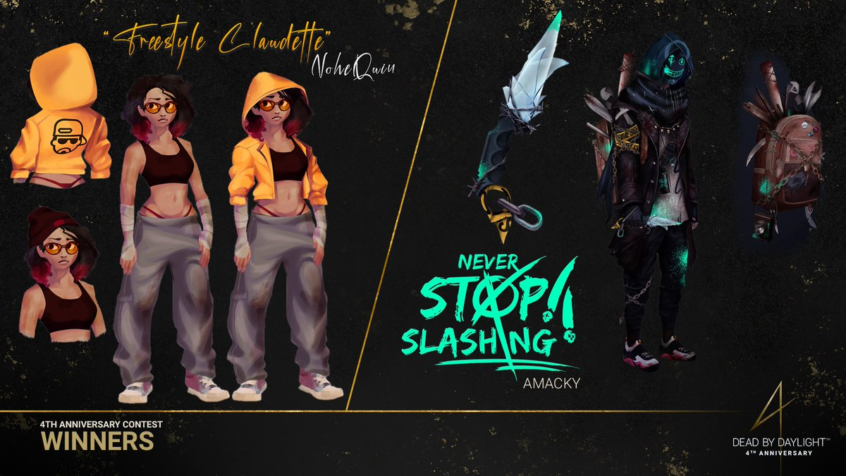 If you missed it, here's our in-game cosmetic contest winners. The two winners will see their cosmetic concept integrated into the game! Congratulations and thank you to everyone who submitted a concept! 🎉  #DeadbyDaylight #DbD #DbDAnniversary https://t.co/sYx55PpxtW