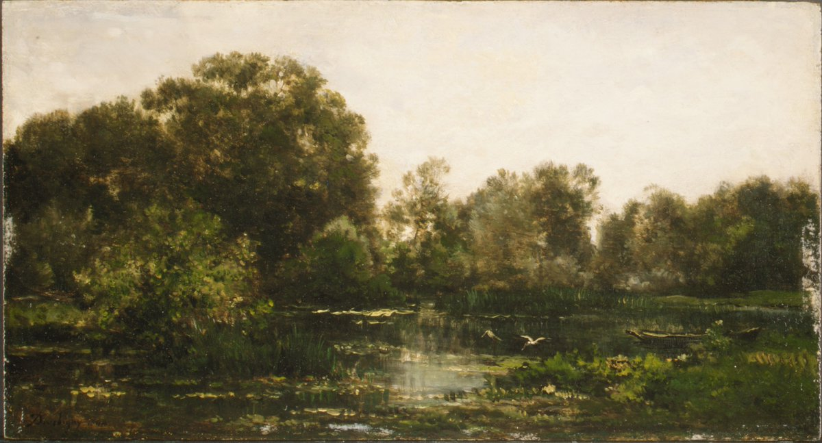 A River Landscape with Storks by Charles-François Daubigny metmuseum.org/art/collection… #metmuseum #charlesfranoisdaubigny