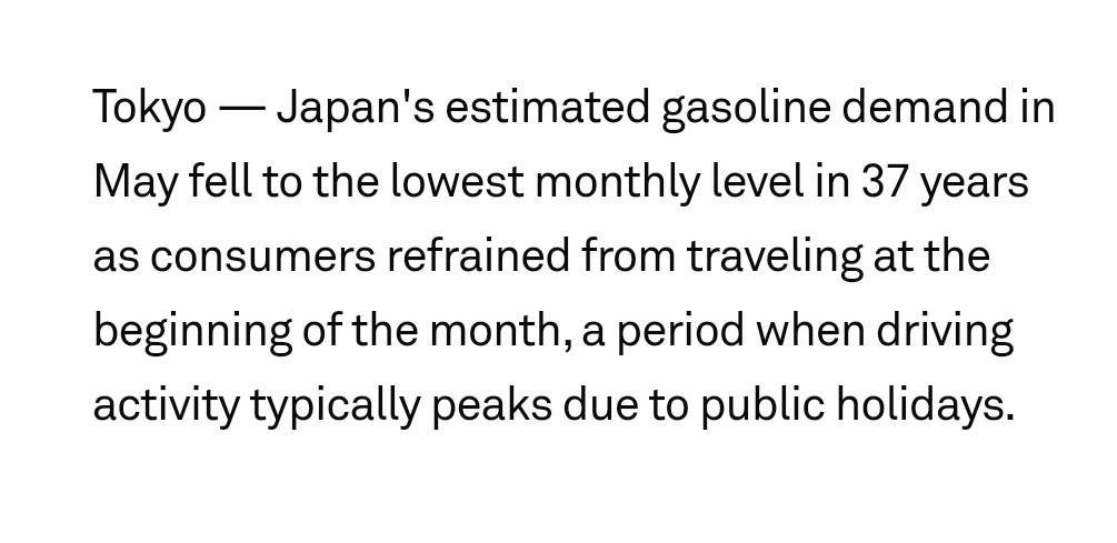 #Japan's May #gasoline demand at 37-year-low, slow demand recovery in sight spglobal.com/platts/en/mark…