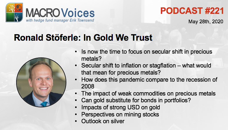 MacroVoices @ErikSTownsend and @PatrickCeresna welcome @RonStoeferle to the show to discuss all things gold, including both the metals and the mining stocks & more. https://bit.ly/2XCfA92pic.twitter.com/AcdvLKzfwM