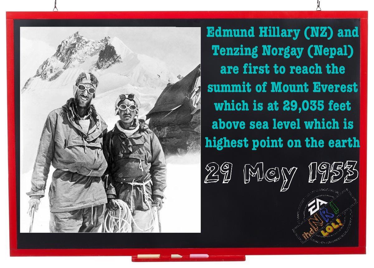 On this day, 1953  #onthisday #instadaily #history #historyfacts #historylovers #mteverest #summitofmteverest #tenzingnorgay #tenzing #newzealand #edmundhillary #nepal #explorer #britishexpedition #1953 #may29pic.twitter.com/277gmwSrPe