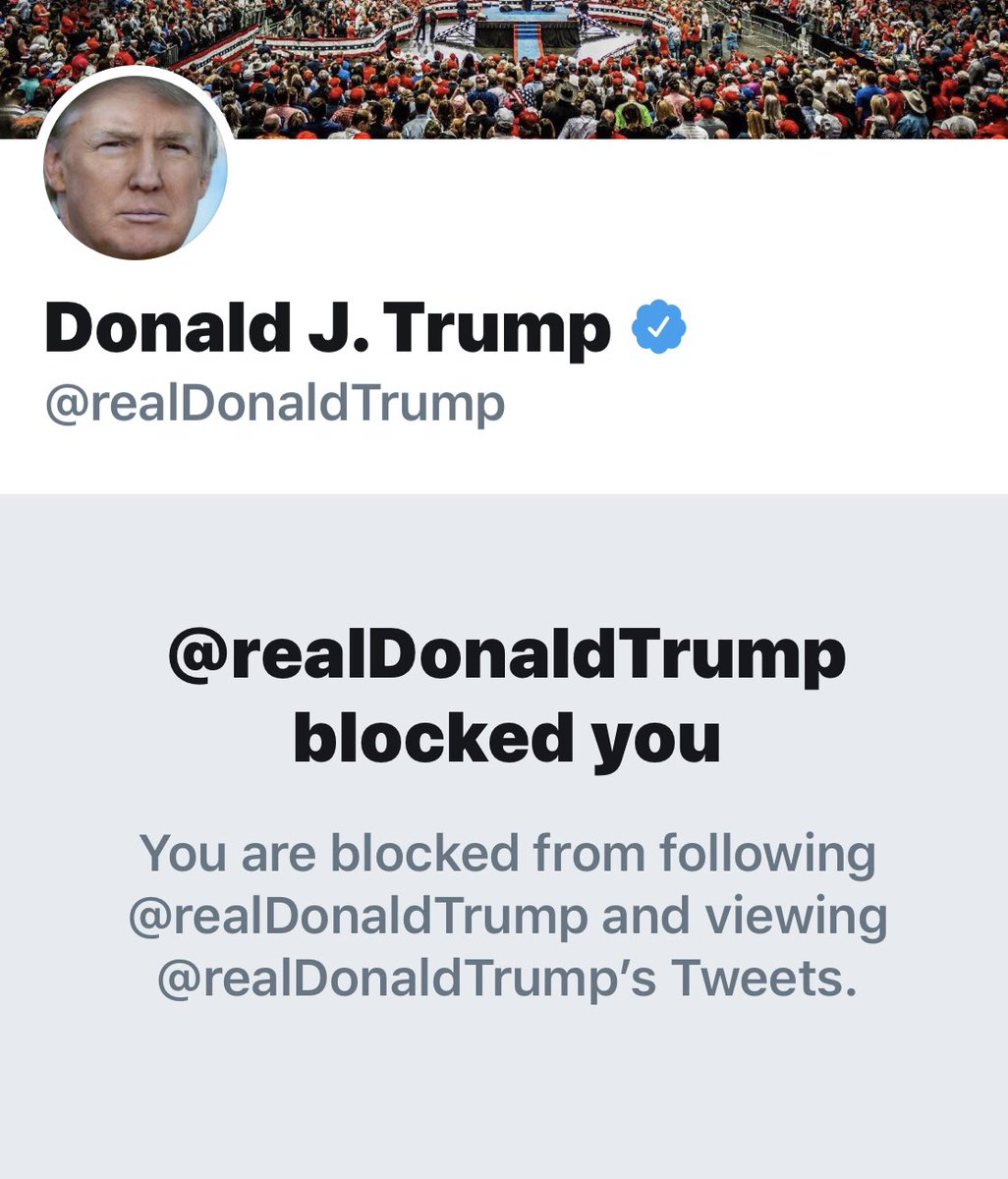 (A) @realDonaldTrump whines that Twitter censors him. (B) @realDonaldTrump blocks me from seeing his tweets. Guess which one is a genuine constitutional violation?