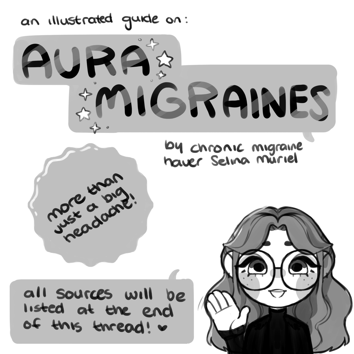 """AN ILLUSTRATED GUIDE ON ✨ AURA MIGRAINES ✨  I've had this condition for the last 8 years, and I figured this would be a good way to explain to people what happens to me, and spread awareness that migraines aren't """"Just Headaches"""" 1/2"""