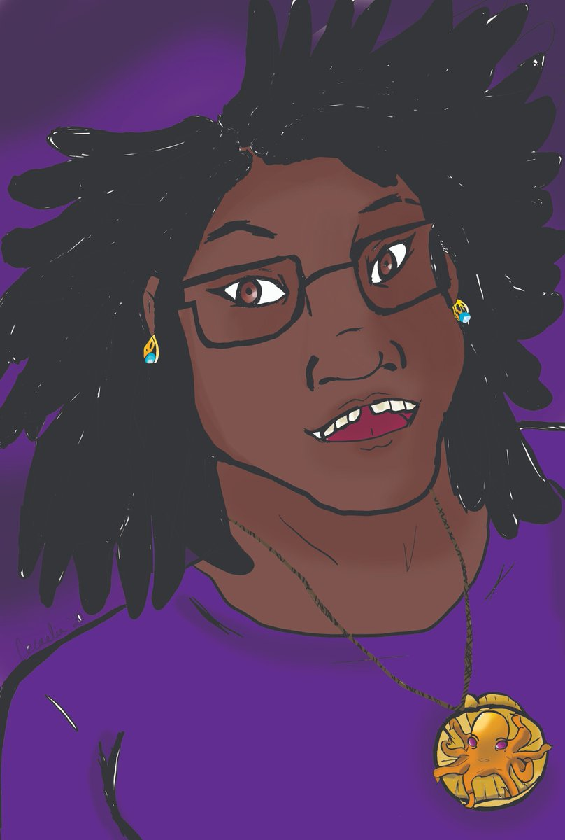 Like I've mentioned, I'm new to digital art for the most part. Click to see the full thing :) #digitalart #drawing #selfportrait #sketchbook #sketch #blackartist #adrawingofmyself #mepic.twitter.com/x8PiIUvjsT