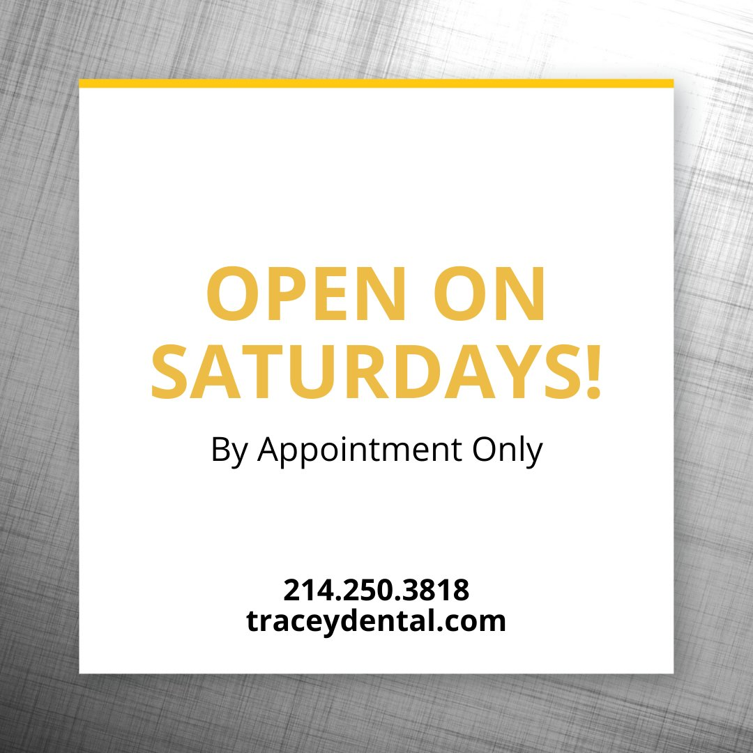 We're so excited to announce we're now open on Saturdays!! Call 214.250.3818 or online at http://traceydental.com . We can't wait to see you!!#dentist #weareopen #openonsaturday #oralhealth #dentistry #veneers #teethwhitening #invisalign #dentaloffice #dfwdentistpic.twitter.com/U1pe0A8v8E