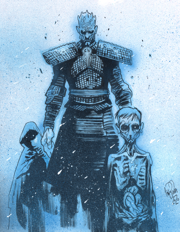 Night King from Game of Thrones. Learning some new color techniques over quarantine. Ink, marker, and paint on paper. #GameOfThrones