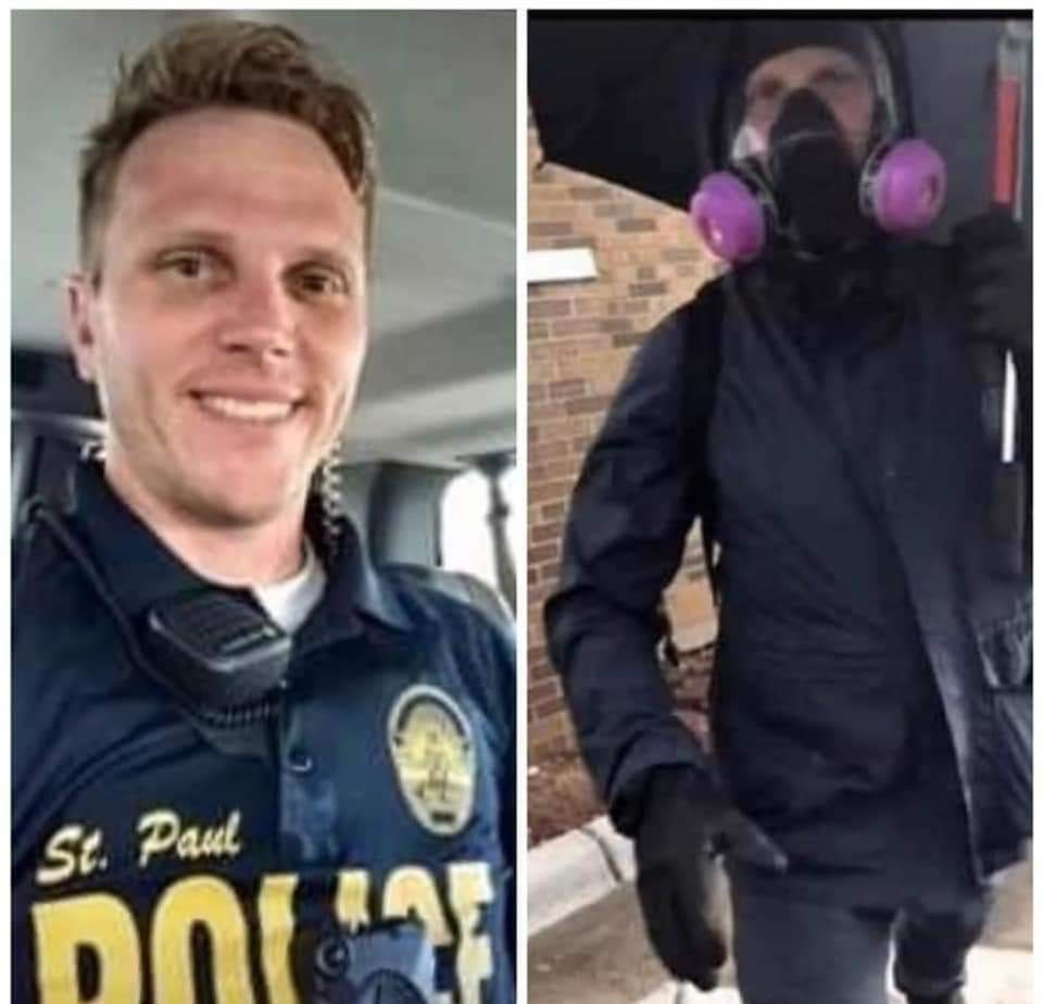 Well well well... Jacob Pederson of the Saint Paul PD, is that you in the outfit of the person who started vandalizing in the hopes that the protestors would get blamed? #MinneapolisUprising