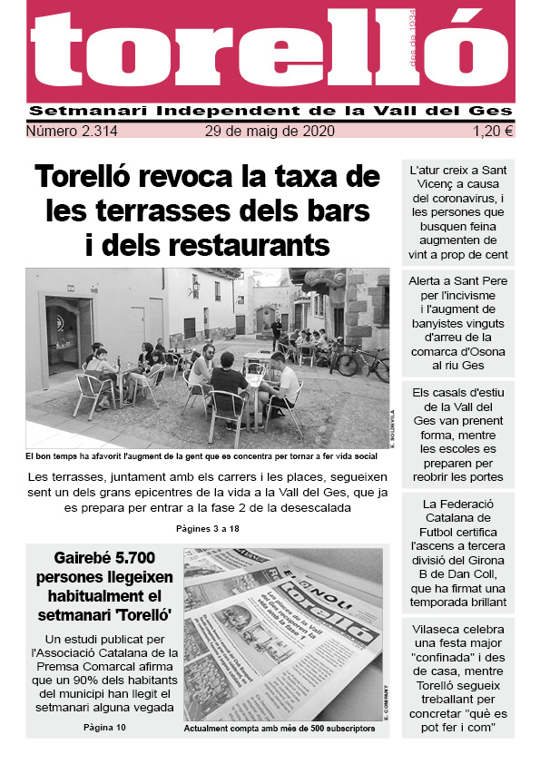 Bon dia! Aquesta és la portada del @settorello d'aquest divendres 29 de maig. Que passeu un bon cap de setmana! #torelló #valldelges #osona https://t.co/0ev5EXUU0p