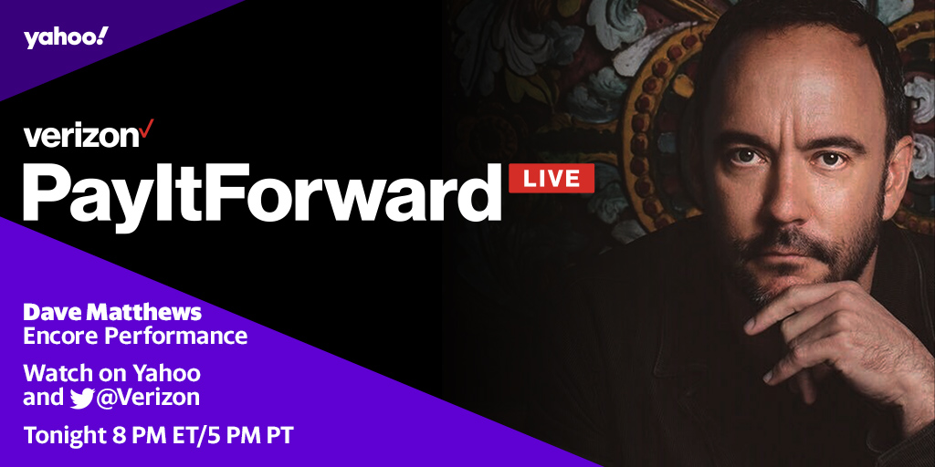 """What would you say"" to an encore performance from @davematthewsbnd? Watch Dave right now on #PayItForwardLIVE with another performance for our small businesses in need on @Yahoo: bit.ly/PayItForwardLi…"