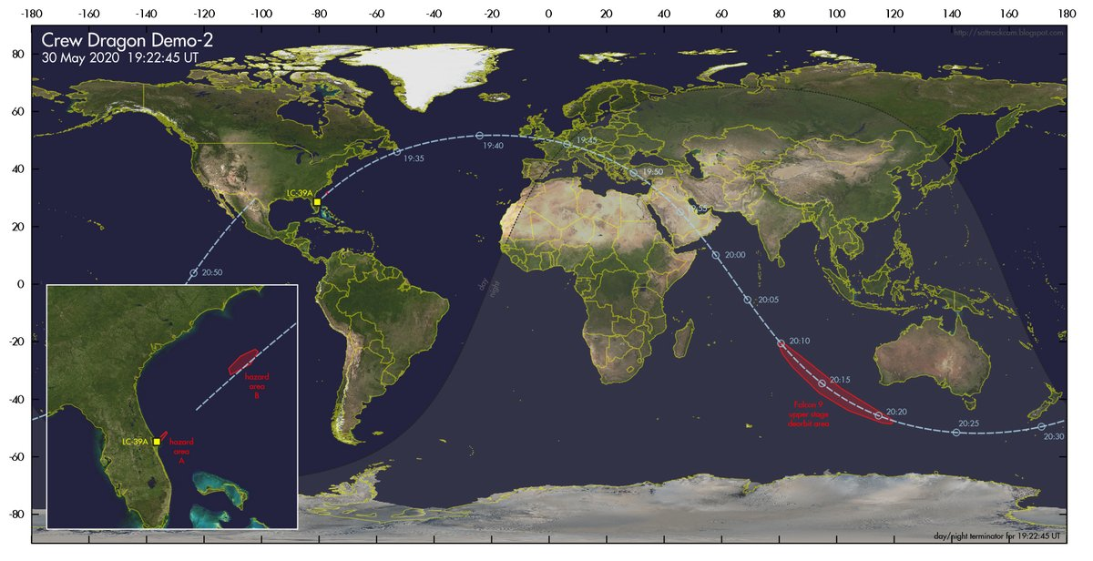 The @SpaceX #CrewDragon Demo-2 ground track for the new launch date of 30 May, 19:22:45 UT: