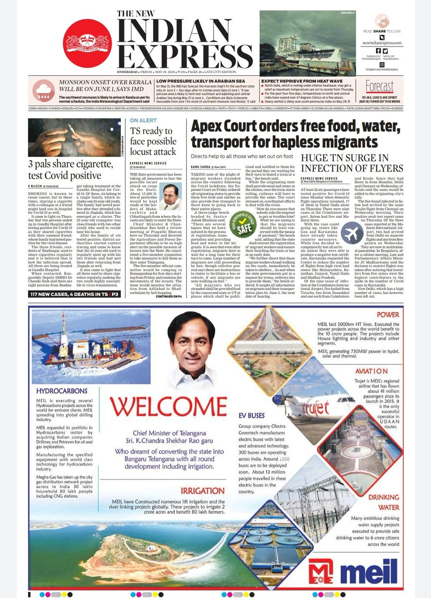Read all stories from Hyderabad edition here  https://www.newindianexpress.com/pages/29-05-2020/TNIE_HYDERABAD_29-05-2020.pdf…  @XpressHyderabadpic.twitter.com/uvGvpNSmpd