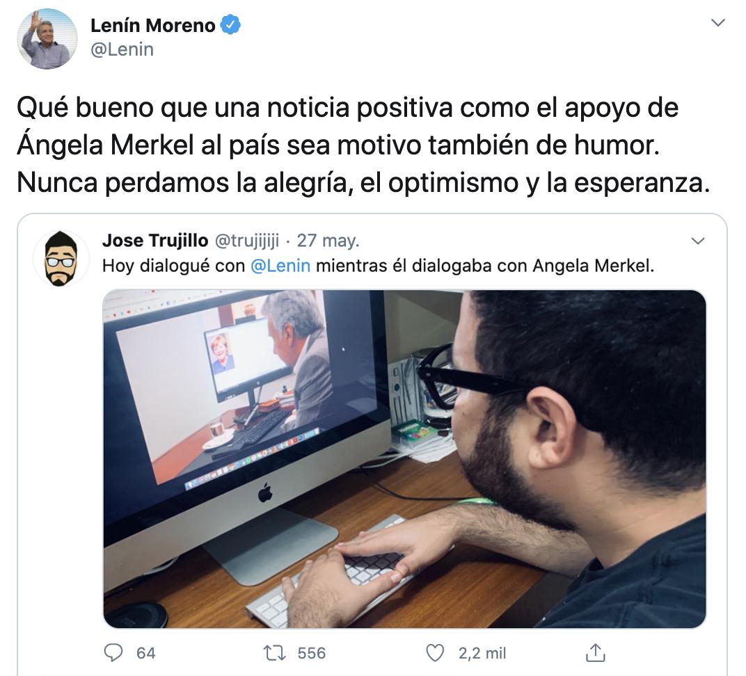 El presidente @Lenin Moreno reacciona luego de la avalancha de memes, por la publicación en la que decía que había hablado con Angela Merkel, poniendo una foto de Google de la canciller alemana. ⬇️ https://t.co/9lQjlqyNsf