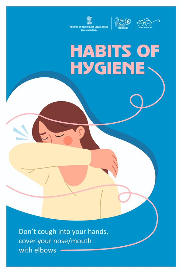 Do not cough into your hands. Always cover your mouth and nose with flexed elbow or a tissue when coughing or sneezing. Dispose of used tissue immediately into a closed bin. A healthy habit today, a healthier nation tomorrow! #HabitsOfHygiene #IndiaFightsCoronaviruspic.twitter.com/5xguKaAZgw