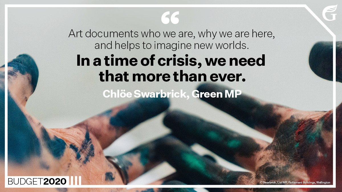 """✊🎭 """"Art is not a nice-to-have – it is an essential part of our communities, which colours our lives and makes us think. This funding extends a lifeline to an industry facing an incredibly uncertain future. @_chloeswarbrick #nzpol Learn more: greens.nz/CreativeSupport"""
