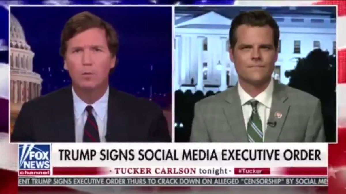Tucker Discussing Trumps EO & Steps Congress Must Take To Deal w/ Big Tech Bias Now is the time to stop it. If these businesses want to be treated as neutral platforms, they must be neutral platforms. Otherwise they should get their carveout yanked from them immediately.