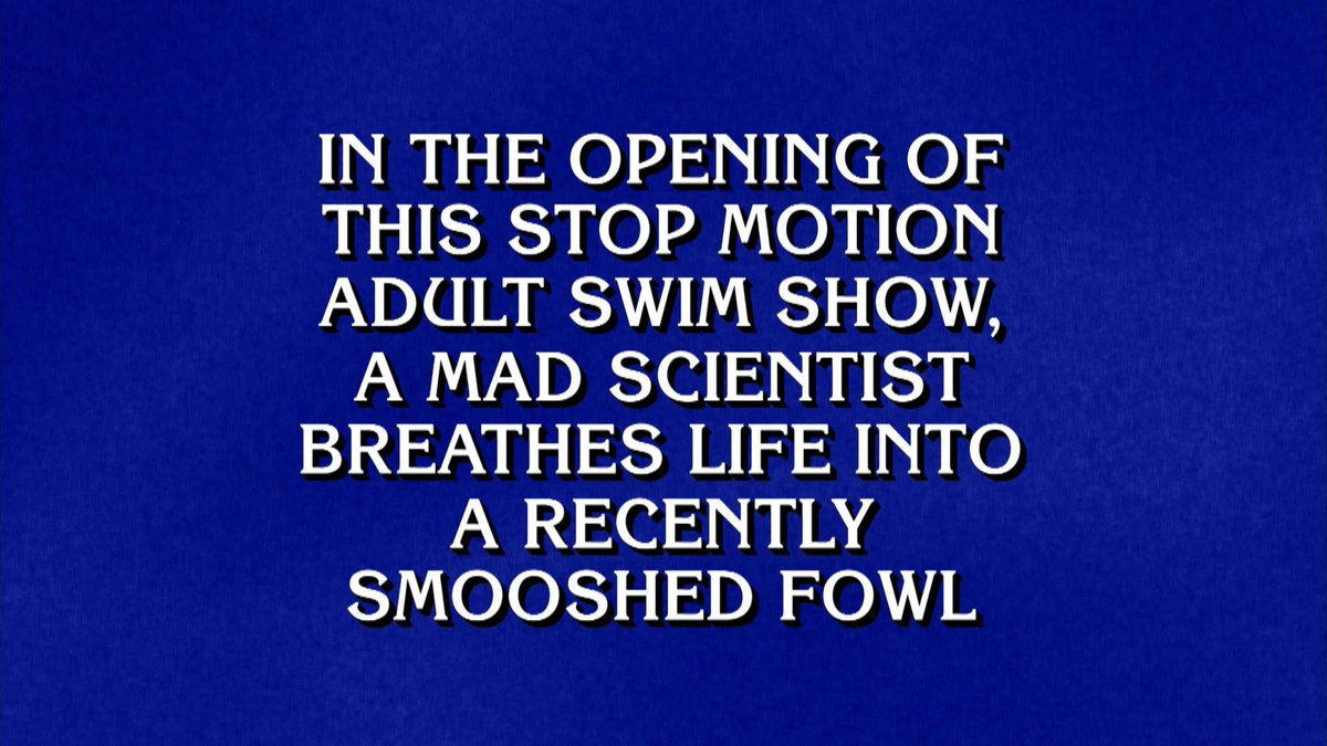 WOAH! If only we were on @Jeopardy TONIGHT maybe we would have taken it all! Seriously, though, did you jump out of your seats like we did when you found out #RobotChicken was an answer on todays episode of #Jeopardy? 🙋