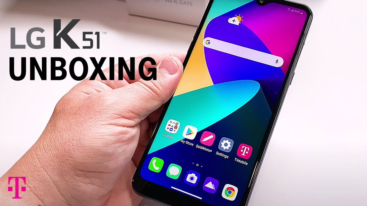 "The new #LGK51 unboxed in 90 Seconds!!! Featuring a 6.5"" screen, 13MP front camera & triple rear camera with a 115˚ super wide angle lens! Its at @MetroByTMobile today, at T-Mobile on May 29 and later this summer at @Sprint! Now - Ready, Set, UNBOX!"
