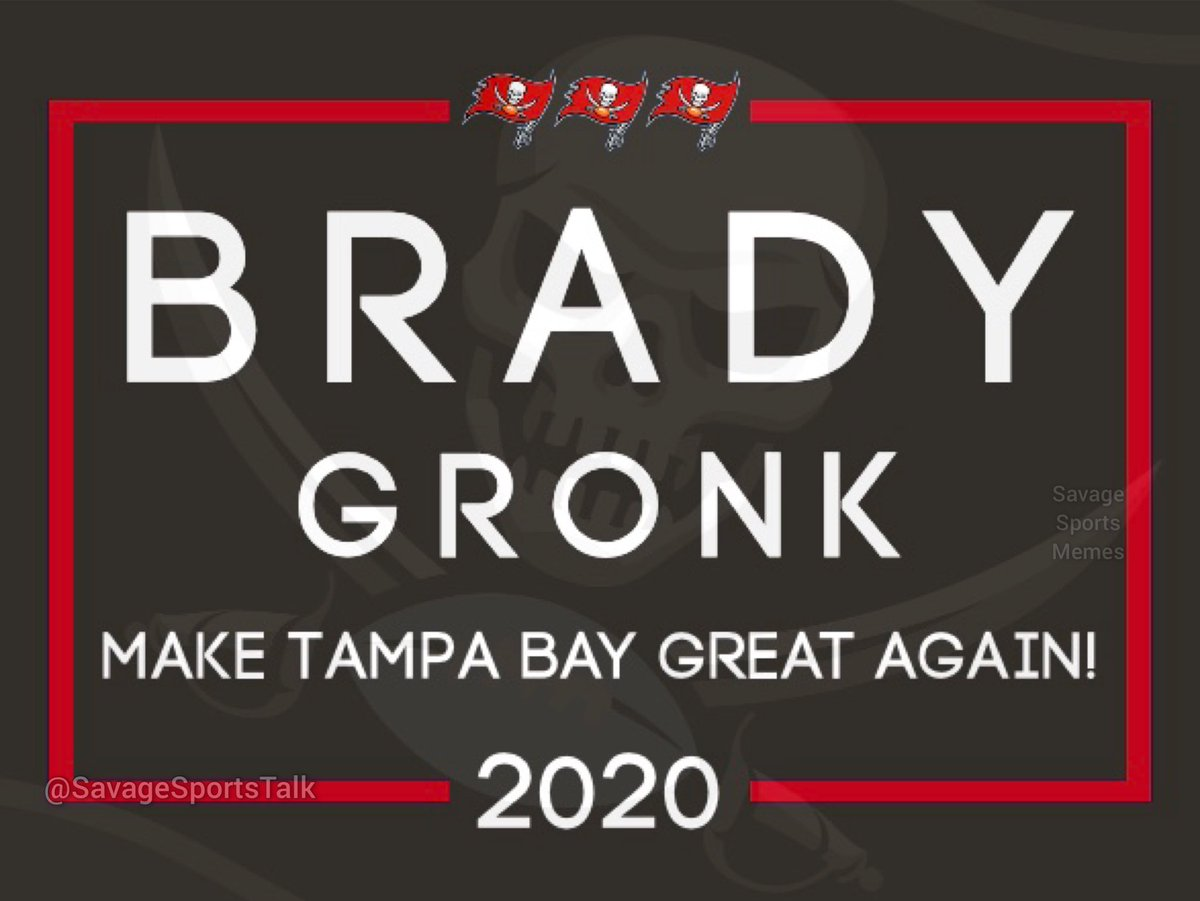Brady and Gronk released their campaign sign today. When was Tampa Bay ever great though? . .  #NFL #NFLmeme #NFLmemes #football #footballmeme #footballmemes #meme #memes #sports #sportsmeme #sportsmemes #tampabay #bucs #buccaneers #tombrady #tb12 #gronkpic.twitter.com/tADPWLYKNR