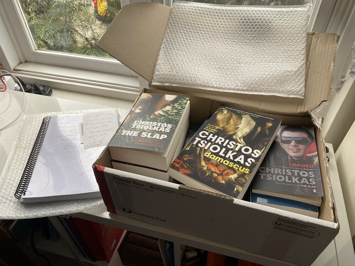 In the #authorsforfireys auction, @SquigglyRick and I won Christos Tsiolkas annotated 3rd draft of Damascus—a brilliant offering. It arrived today, with a box of all his books for each of us, signed, for the fireys. So lovely. Thank you to @KirstenKrauth for making this happen!