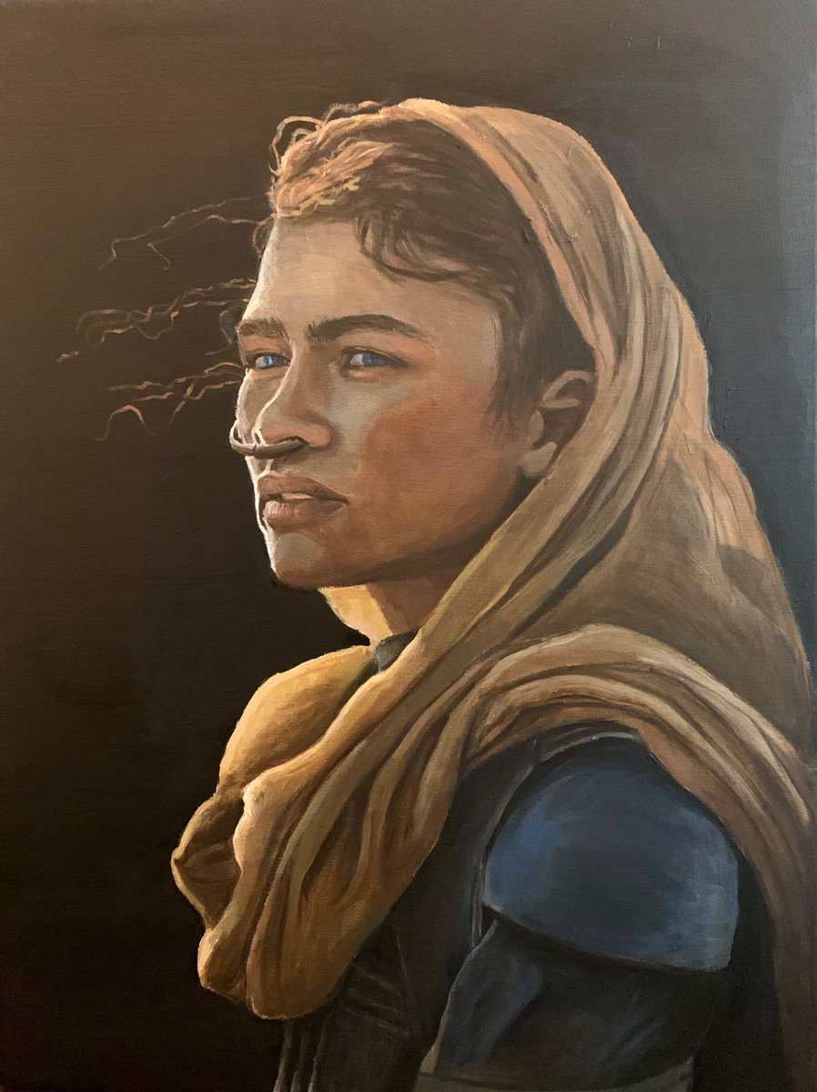 """""""Girl with the Pearl Earring"""" meets the """"Girl with the Stillsuit Nosering.""""  At least that was the idea.  Zendaya as Chani from the upcoming Dune movie (can't wait ).  @Zendaya  @dunemovie<br>http://pic.twitter.com/D7iPUVolH2"""