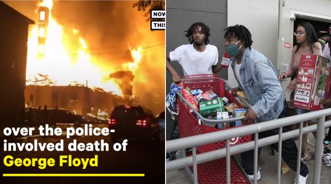 【影片】漫天火光!憤怒民眾打砸警局,將超市搶劫一空還焚燒,有人還點燃了國旗!