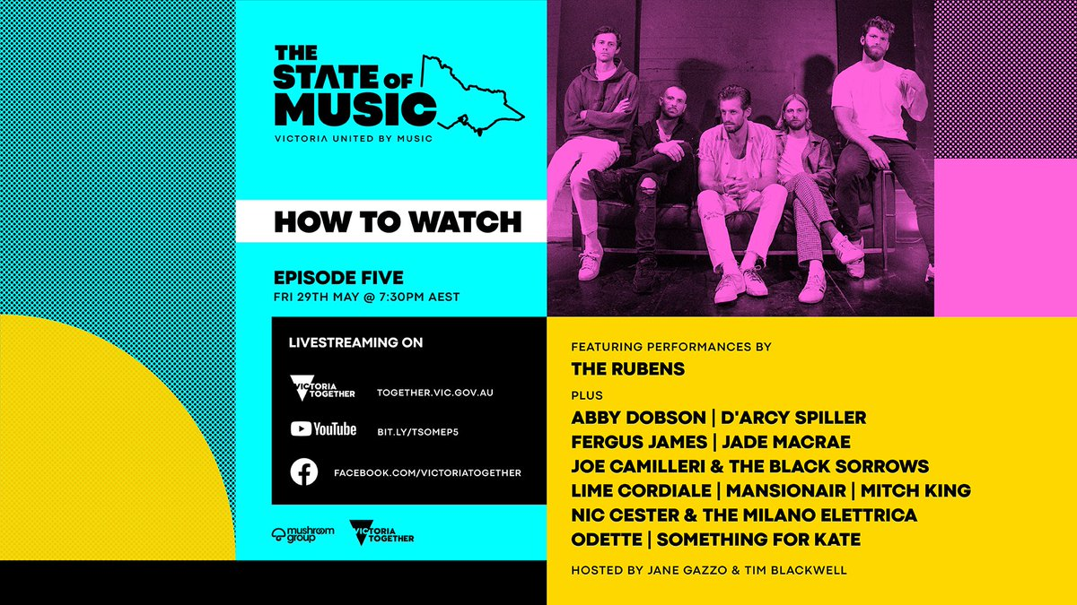 #TheStateofMusic: Episode Five kicks off tonight! Streaming on 🔻 Facebook: https://t.co/wShDd5FFSY YouTube: https://t.co/nSypkfqPJW and https://t.co/w4w3xA8OK8 Cya there @ 7:30 PM AEST https://t.co/ndY9YgFgE1