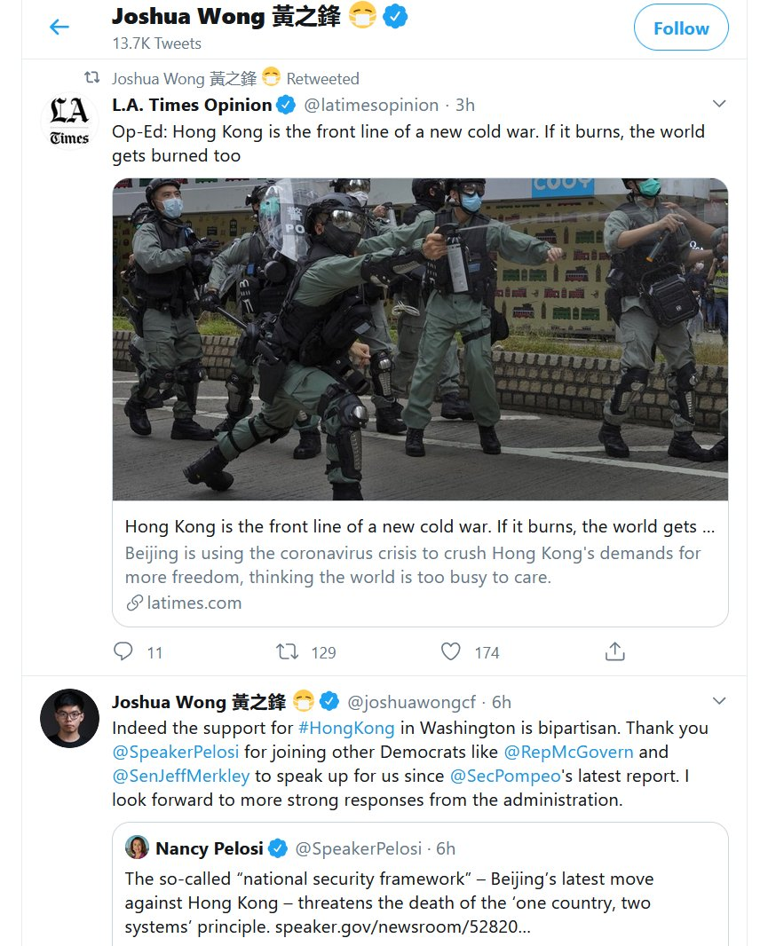 US-backed right-wing Hong Kong activist Joshua Wong, who has glorified British colonialism, just praised the bipartisan support he has from US politicians, then retweeted this op-ed stating bluntly we are in a new cold war. He knows what side of that cold war hes on (the USAs)