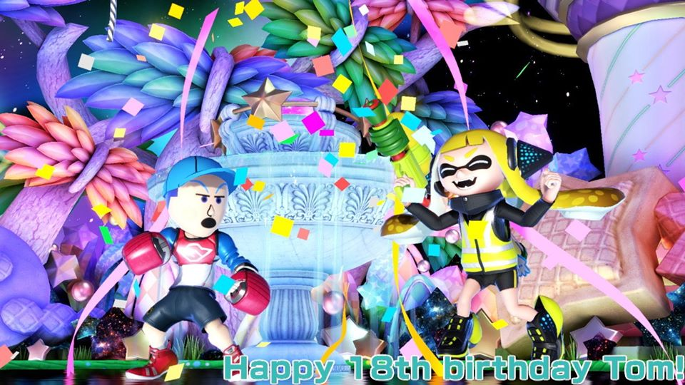 Dedicating this pic to one of my closest Miiverse friends! Happy 18th birthday @TomLegend101! I hope you can enjoy this special day with all of the love and support of your family & friends! 🥳🎂 #SmashBrosUltimate   don't forget to share some of that birthday cake to agent 3 XD