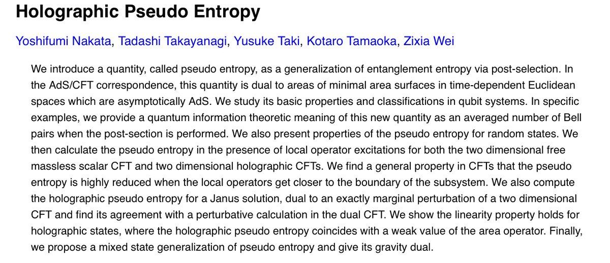 論文出ました。(エンタングルメント)エントロピーの一般化として、擬エントロピーという量と、その重力双対を提案しました。東大の中田さん、基研の高柳さん、瀧くん、魏くんとの共著です。