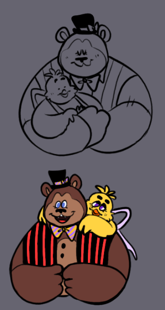 um we compared their heights earlier and im crying out of every pore on my body (freddy is @sandmanggg's :]) #fnaf #fnafart #fnaftwt #freddyfazbear #chica https://t.co/G2qhBiv6xF