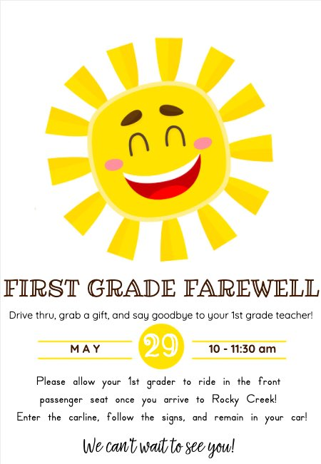 Don't forget about our First Grade Farewell! ☀️ https://t.co/I55NHKhOlK
