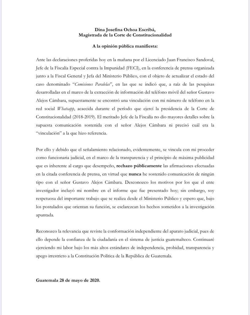 test Twitter Media - La magistrada de la CC, Dina Ochoa se pronuncia respecto a la mención que se hace de una presunta comunicación con Gustavo Alejos. https://t.co/CE5FH69n2v
