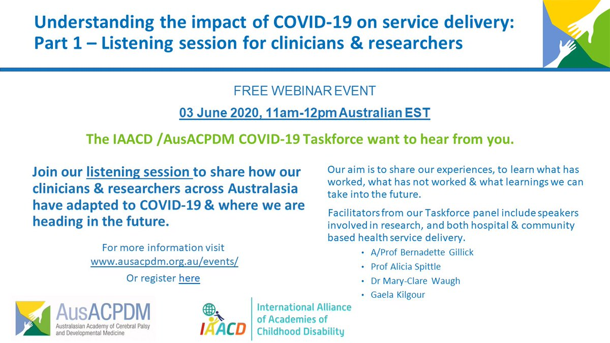 Spaces still available for the free #IAACD & #AusACPDM COVID-19 webinar, 3rd June, 11am Australian EST. Register to attend https://t.co/rgAc5v2GXF. All health professionals & clinical researchers welcome #ChildhoodDisability #CerebralPalsy #Pediatrics #DevelopmentalDisability