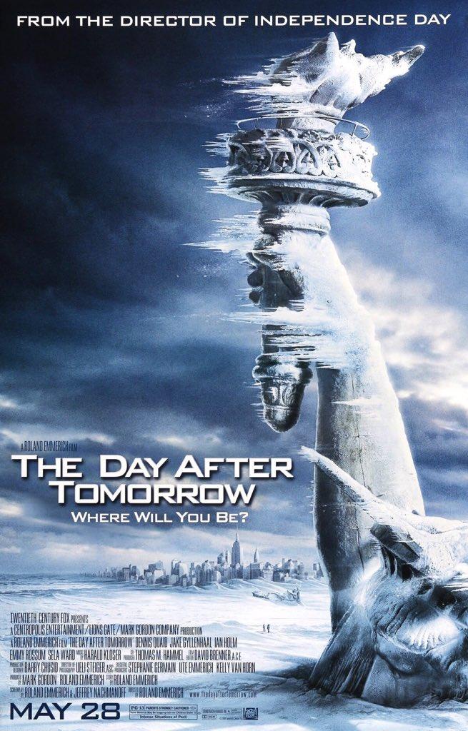 MOVIE HISTORY: 16 years ago today, May 28, 2004, the movie 'The Day After Tomorrow' opened in theaters!  #DennisQuaid #JakeGyllenhaal #SelaWard #EmmyRossum #IanHolm #AustinNichols #AdrianLester #ChristopherBritton #ArjaySmith #DashMihok #JayOSanders #SashaRoiz #KennethWalshpic.twitter.com/AlwXXsoNrW