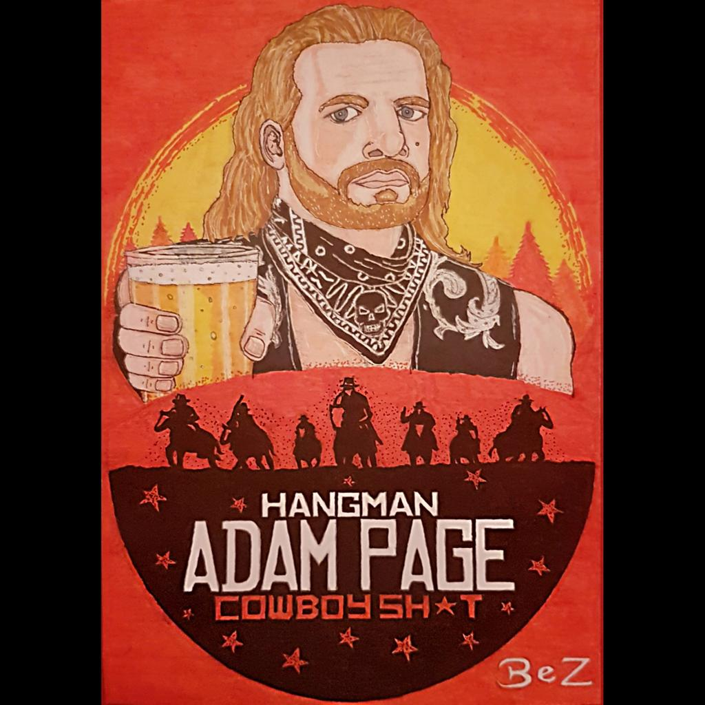 My newest drawing. I know that @theAdamPage had a RDR inspired shirt before AEW but it seems like the perfect mix so I gave this idea a go #hangmanadampage #adampage #hangmanpage #cowboyshit #holdmybeer #aew #aewontnt #allelitewrestling #aewdynamite  #rdr2 #pendrawing #drawingpic.twitter.com/b8RMwnDxL0