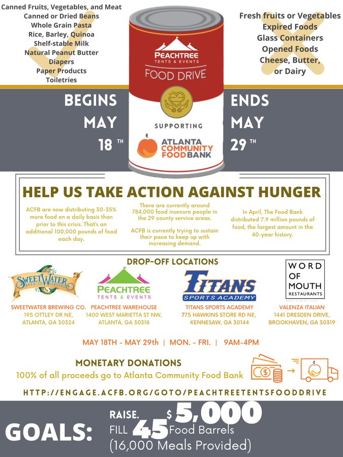 TODAY is the LAST DAY! Drop off your nonperishable items at: @peachtreetents @sweetwaterbrew and Valenza Italian in Brookhaven. To make a donation visit: engage.acfb.org/goto/Peachtree… @ACFB